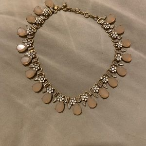 JCrew Lilac & gold, floral & rhinestone necklace